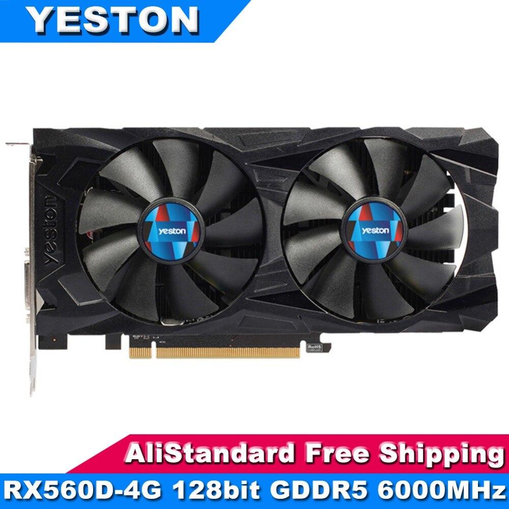 Yeston RX560D-4G cartes graphiques 128bit GDDR5 6000 MHz Gaming ordinateur de bureau Vidéo cartes graphiques Soutien DVI-D HDMI DP pour AMD