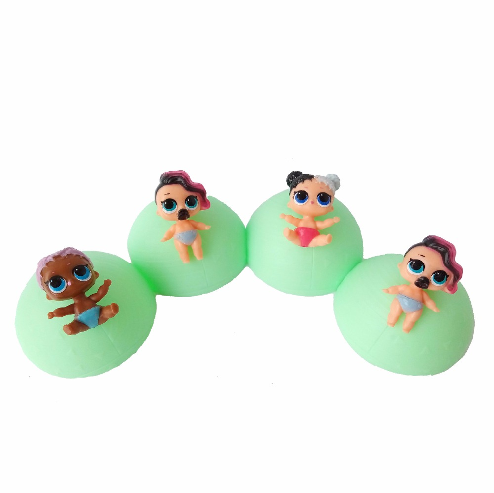 4pcs/lot 7.5cm lol surprise Doll LIL Sisters Ball Toy Figures Egg Ball Unpacking Toys Boneca Doll lol Toys for Girls No Function lepin 22001 pirate ship imperial warships model building block briks toys gift 1717pcs compatible legoed 10210