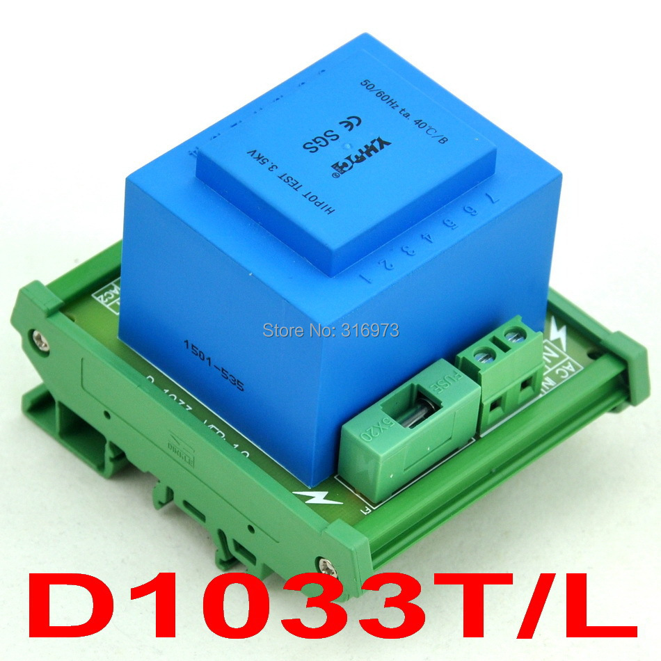 P 115VAC, S 2x 18VAC, 20VA DIN Rail Mount Power Transformer Module,D-1033T/L,18V