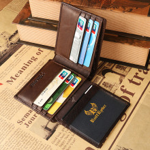 Hot Sale!Top quality Fashion Crazy Horse Genuine Leather Men Purse Wallet coin pocket purse card Holder Free shipping