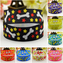7/8'' (22mm) Dog bone Cartoon Character printed Grosgrain Ribbon party decoration satin ribbons OEM 10 Yards 7 8 22mm owl cartoon character printed grosgrain ribbon party decoration satin ribbons oem 10 yards