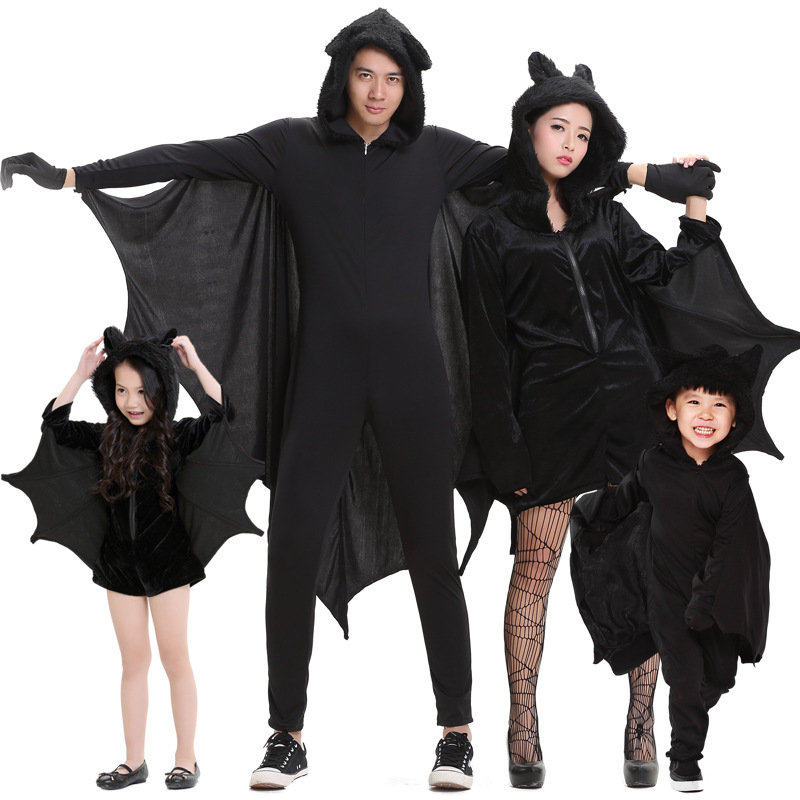 Umorden Purim Halloween Party Costumes Family Matching Black Bat Vampire Costume For Adult Children Kids Bat Cosplay Jumpsuit