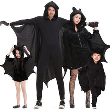 Umorden Purim Halloween Party Costumes Family Matching Black Bat Vampire Costume for Adult Children Kids Bat Cosplay Jumpsuit halloween costumes for girls princess dress kids vampire clothes cosplay bat set for party outfit boys costume children clothing