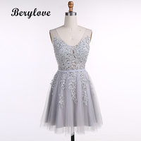 BeryLove Gray Short Homecoming Dresses Appliques Tulle V Neck Party Dresses Cheap Cocktail Dresses 2018 Grey