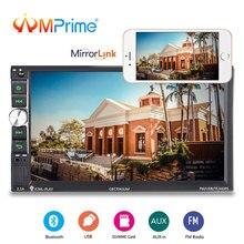 AMPrime 2 din Автомагнитолы мультимедийный плеер авторадио «7» Сенсорный экран видео MP5 плеер Bluetooth USB FM Зеркало Ссылка стерео радио