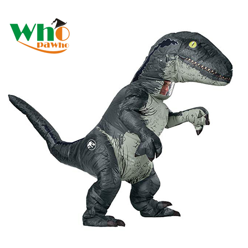 Adult Inflatable Velociraptor Costume Fancy Dress Cosplay Jurassic Dinosaur Suit Halloween Dinosaur T REX Costume For