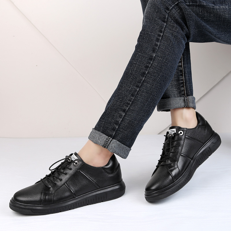 Fashion men 39 s casual shoes genuine leather cow loafers man black shoe new youth breathable comfortable shoes for men big size 12 in Men 39 s Casual Shoes from Shoes