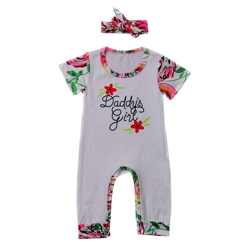 Pudcoco 2017 Summer One Piece Baby Girl Floral Short Sleeve Rompers Playsuit Jumpers Outfits Clothes