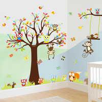 Joli singe Owlet animaux avec grand arbre Stickers muraux pour enfants chambre salle de jeux décoration de la maison bricolage dessin animé Mural Art Pvc Stickers