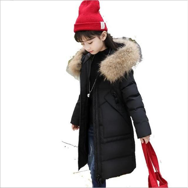 2018 New Children's Down Jacket Girls Long Thick Korean Winter Clothing Female Hooded Zipper Coat Long Sleeve Overcoat QC949