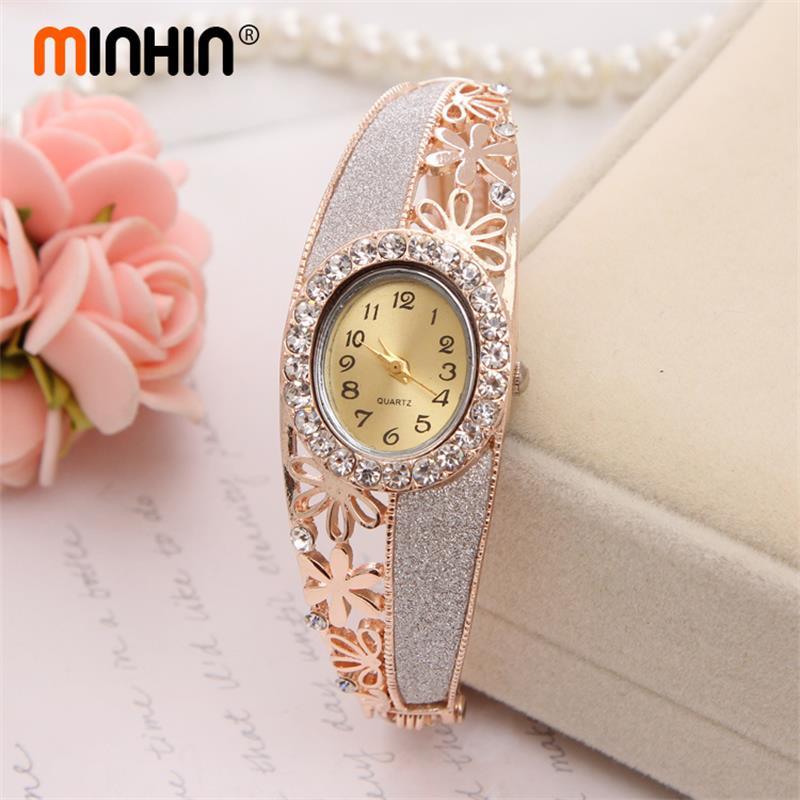 MINHIN Charm Quartz Watch Dress Jewelry Bangle Watches Ladies Watch Clock Female Wristwatches Gold Plated Watches
