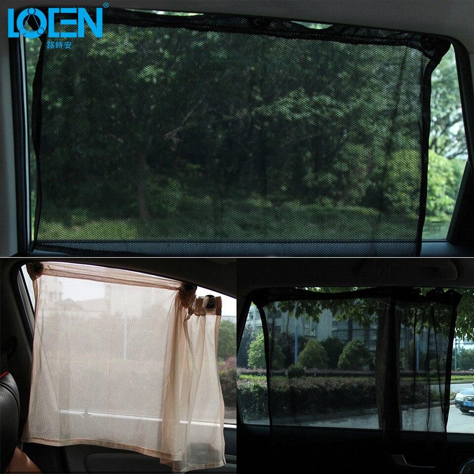 LOEN 2 PCS Shrinkable Windowshade Mesh Curtain Car Side Window Sunshades for Auto Windshield Sun Block - Black Beige Gray