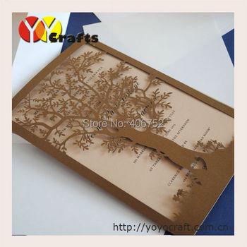 Wedding party decoration paper craft laser cut love tree wedding invitation card 50SETS/LOT