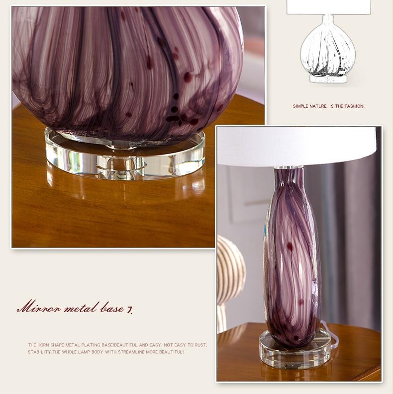 Luxry фиолетовый Стекло настольные лампы модные свадебные Спальня настольная лампа Гостиная настольные лампы кристалл база прикроватные дом...