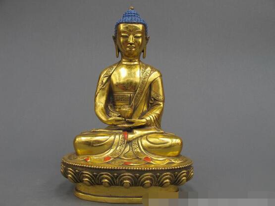 12Tibet Buddhist Temple Refined Bronze Gild Amitayus Shakyamuni Buddha statue12Tibet Buddhist Temple Refined Bronze Gild Amitayus Shakyamuni Buddha statue