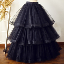 Maxi Long Black Cupcake Tulle Skirt Wedding Bridal Bridesmaid Long Skirt Custom Made Tiered Tulle Tutu Skirt American Apparel