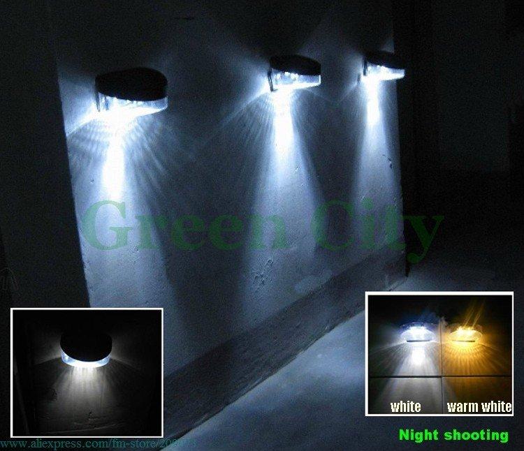 Upgrade 2 Leds Solar Fence Wall Light