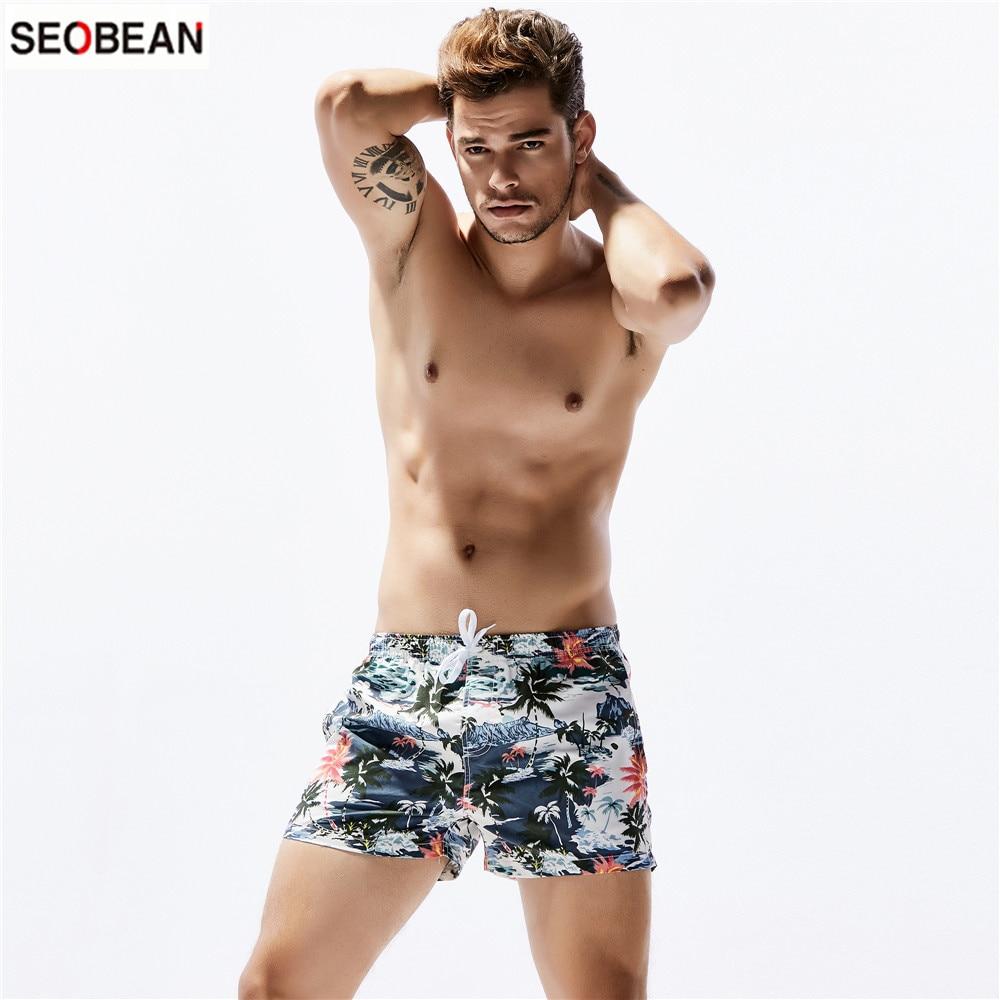 SEOBEAN Men's Beach Casual Wear Coconut Tree Printing Quick-drying Fashion Shorts Surfing & Beach Shorts