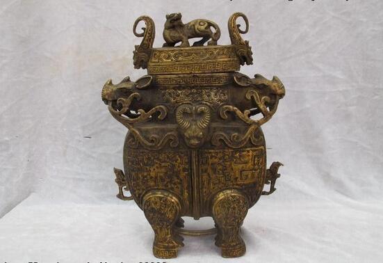 Tibet Folk Classic Copper Bronze carved OX Bull Zun beast veins bottle Vase PotTibet Folk Classic Copper Bronze carved OX Bull Zun beast veins bottle Vase Pot