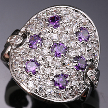 Strange Shape Multi gems Purple Zircon 925 Sterling Silver Party Jewelry Ring Size 6 7 8