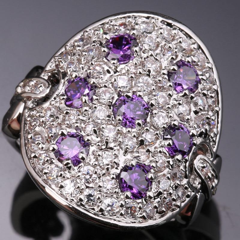 Strange shape Multi gems Purple Cubic Zirconia 925 Sterling Silver Women s Party font b Jewelry