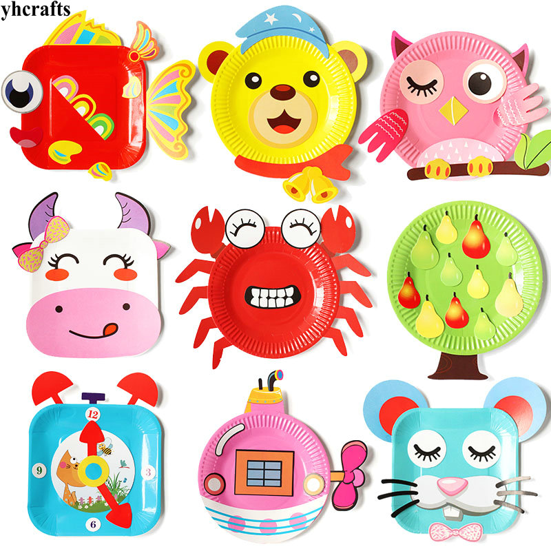 12PCS(1box)/LOT.Animals Flower Bird Cartoon Paper Plate Craft Kits Early Learning Educational Toys Kindergarten Craft Diy Toys