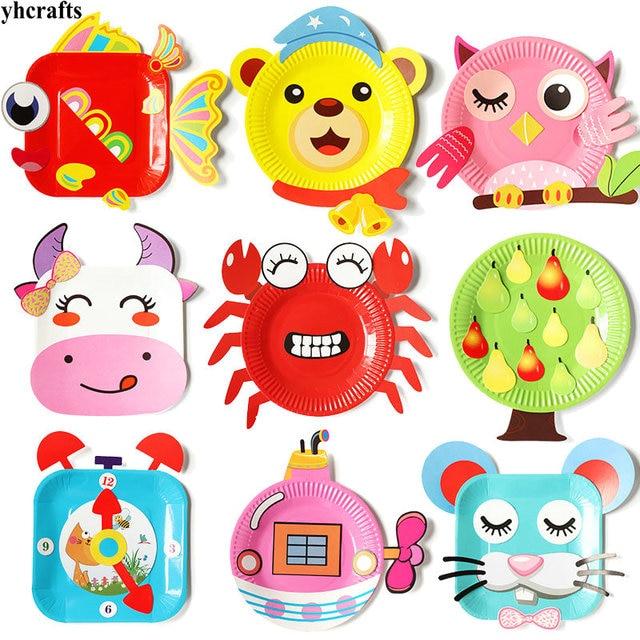 12pcs 1box Lot Animals Flower Bird Cartoon Paper Plate Craft Kits
