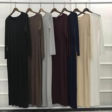 Elegant adult Muslim pure color Abaya Arab Turkish Singapore Jilbab Dubai Long Dress Muslims Women Dresses Islamic dress wj1240
