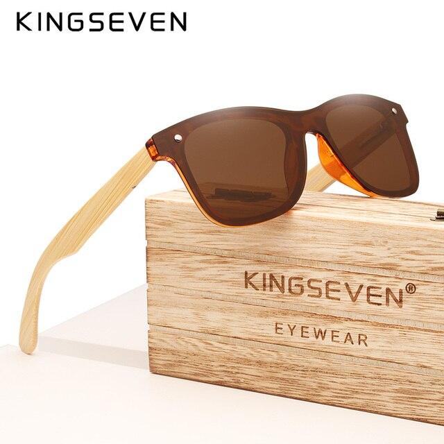 KINGSEVEN 2019 prawdziwe bambusowe okulary przeciwsłoneczne drewniane spolaryzowane drewniane okulary UV400 markowe okulary przeciwsłoneczne drewniane okulary przeciwsłoneczne z drewnianym etui