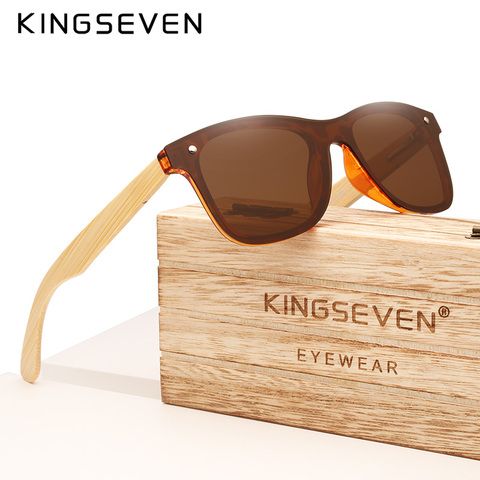 Óculos de Sol de Bambu Óculos de Madeira Óculos de Sol de Madeira com Case de Madeira Kingseven Real Polarizados Marca 2020 Uv400