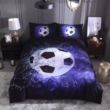3D football duvet cover +pillowcase (no sheet) basketball 3D bed linen set blue black bedding set home 200*200 UK siz bedclothes