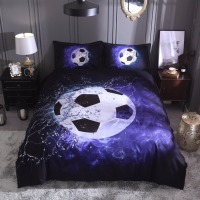 3D football duvet cover +pillowcase (no sheet) basketball 3D bed linen set blue black bedding set home 200*200 UK siz bedclothes