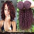 Дешевые Бразильские Вьющиеся Волосы Девственные Расслоения 3 Шт./лот Бургундия 99J Цвет Выдвижение Человеческих Волос Бразильский Девственные Волосы Вьющиеся Волны