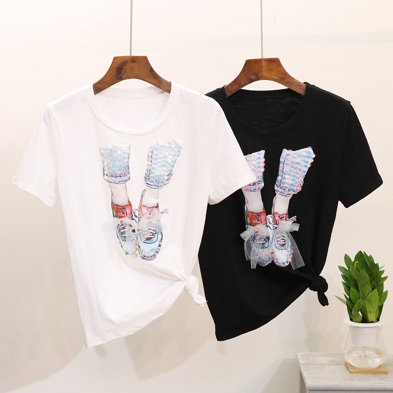2019 Spring Summer Women Cotton t shirt Tops New Sequined Mesh Shoes Round Collar Short Sleeve Tee Harajuku Fashion Women Tshirt