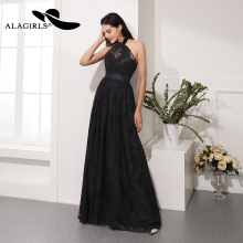 Alagirls 2019 New Arrival A Line Evening Dress Elegant Halter Gowns Sexy Backless Party dress Black Prom Dresses