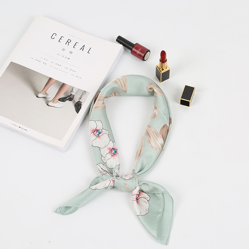 Sour Lemon Flower Lady Scarf Modern Fresh Square Scarves Simple Neckershief New Style Spring Small Warps Polyester Women Scarves