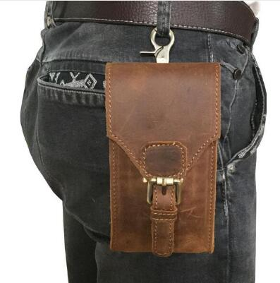 Genuine Leather Mobile Phone Cover Case Pocket Hip Belt Pack Waist Bag Father Gift for Oukitel K8000 K6 K5 Mix 2 Elephone A4 Pro