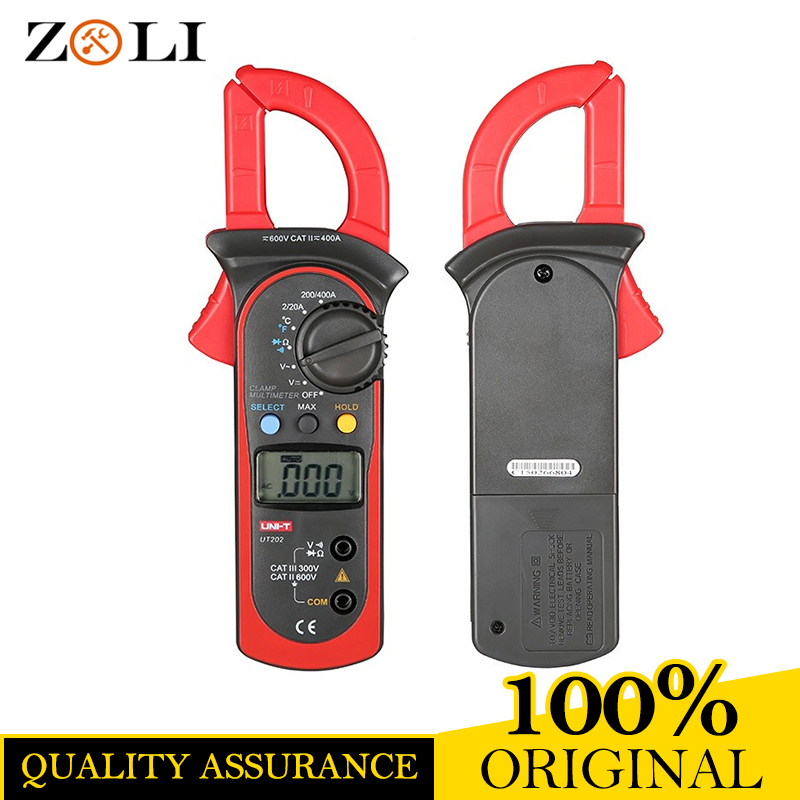 UNI-T UT202 Digital Clamp Meters Ohm DMM DC AC Voltmeter UT202 with Temperature Measurement UT202 Auto Range Multimeters Testers токовые клещи uni t ut202