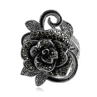 Black Flower Rings For Women 2016 Fashion Crystal Cubic Zirconia Vintage Jewelry Silver Plated Accessories Aneis
