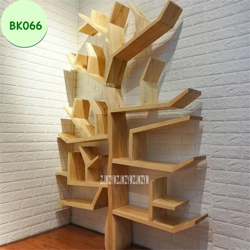 BK066 Creative Solid Wood Bookshelf Living Room Bedroom Wall Decorative Shelf Bookcase DIY Tree Shape Wooden Books Storage Shelf