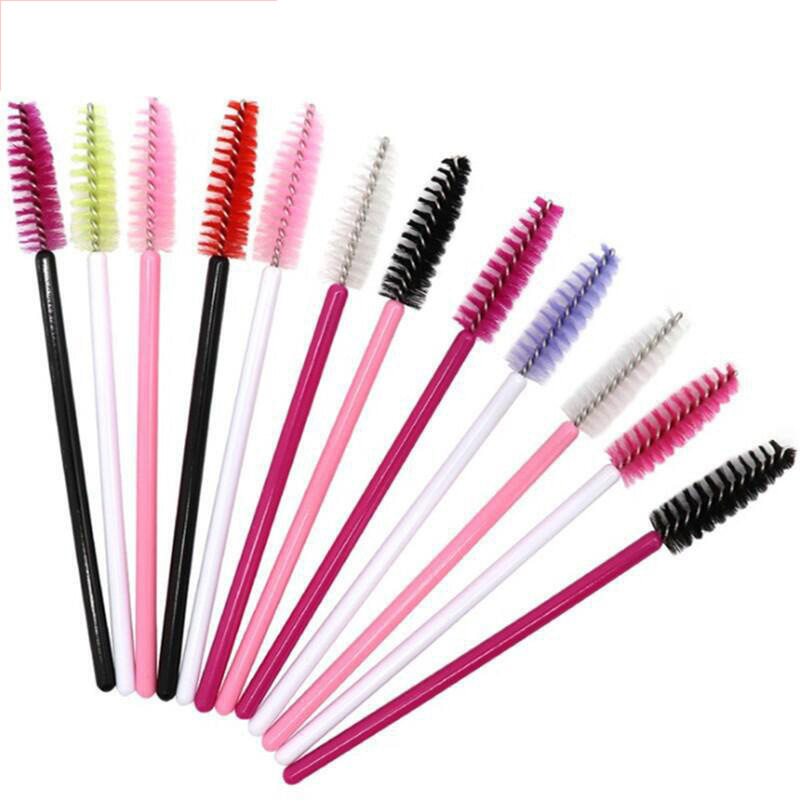 1000pcs/lot Disposable nylon mini portable color eyelash roll grafted brush makeup