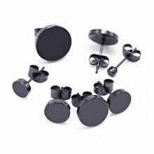 1 par de brincos de orelha masculina brincos de aço inoxidável botão de orelha redonda preto 3mm -12mm estilo punk pendientes brincos anti-allgergic novo