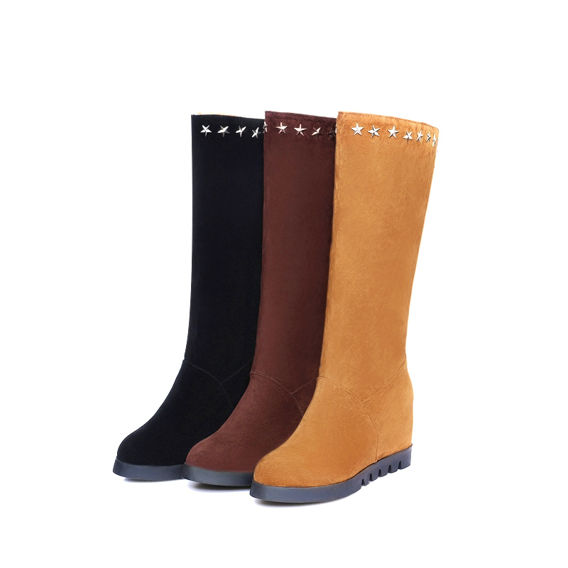 ФОТО Winter Boots Warm casual 2017 Women's Knee High hight  increase  Boots Square Fashion Round Toe Women Shoes  Size 34-43 T-6029