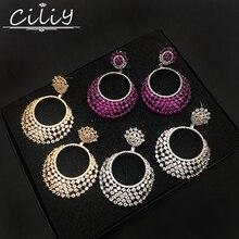 Ciliy Women Luxury Earrings 2018 Design Fashion Cubic Zirconia Circle Round Pendant Big Drop Earrings Wedding