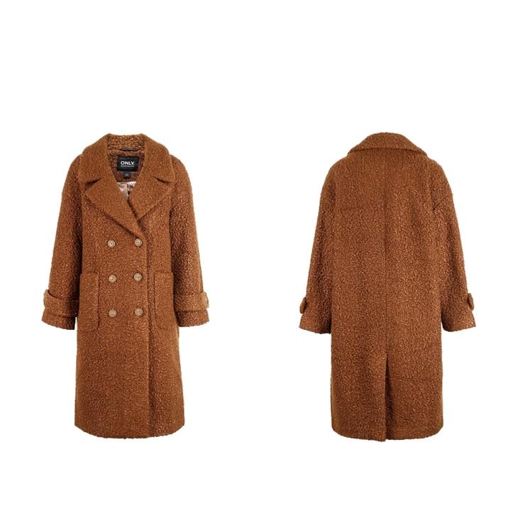ONLY womens' winter new oatmeal Teddy hair long coat Loose version Rear slit hem design|118422505 19