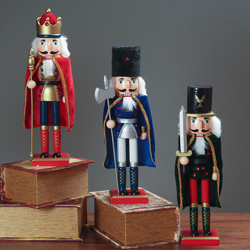 1pcs 30cm Wooden Nutcracker Figurines Christmas Ornaments Puppets Dolls Kids Home Decoration Accessories Gift