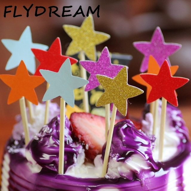 FLYDREAM 5 6 10 Pcs Colorful Cupcake Cake Topper Star With Straw Inserted Card Flags Baby Shower Wedding Birthday Party Decor