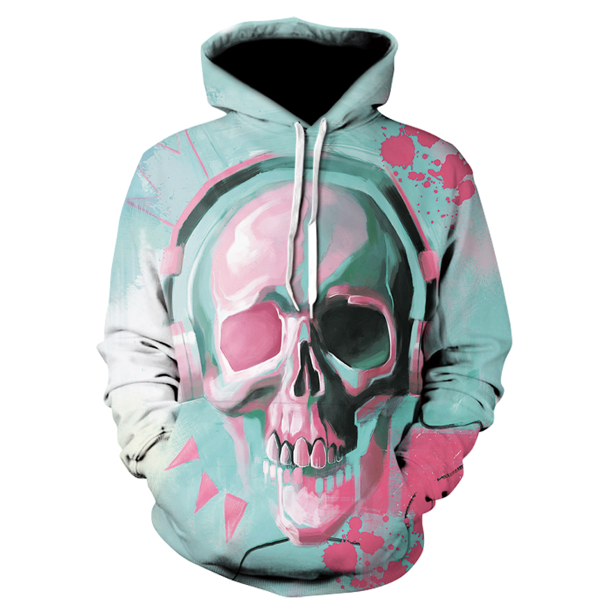 Trendy lady 3D cranium hooded Sweatshirts printed headphones cranium ladies horny trend leisure clothes Hoodies & Sweatshirts, Low cost Hoodies & Sweatshirts, Trendy lady 3D cranium hooded Sweatshirts printed...