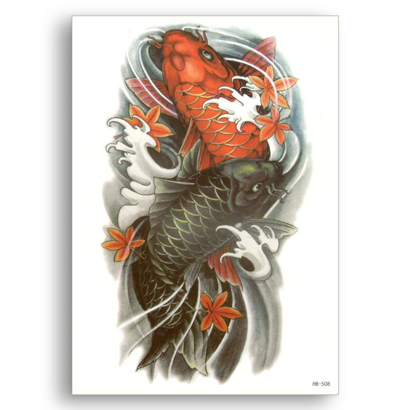 Water Transfer Fake tattoos Disposable Waterproof Temporary Stickers Black Red Carp Women Men Sexy Beauty Body Art Flower arm image