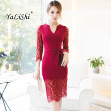 цена на Spring Dresses Women Red Lace Patchwork Sashes V-Neck Long Sleeve Bandage Bodycon Dress 2018 Lady Vintage Sexy Party Midi Dress